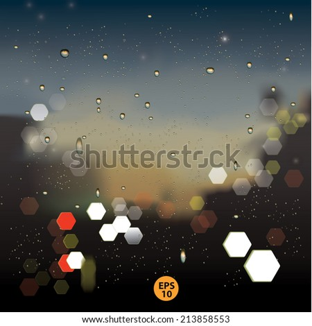 Rain and Bokeh, rain drops on window with blurred traffic light ,rainy weather  - stock vector