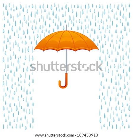 Rain and umbrella - stock vector