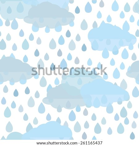 Rain doodles and hearts seamless pattern  caption - stock vector