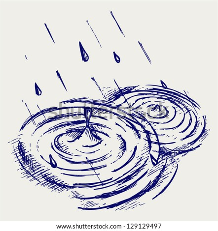 Rain drops rippling in puddle. Doodle style - stock vector