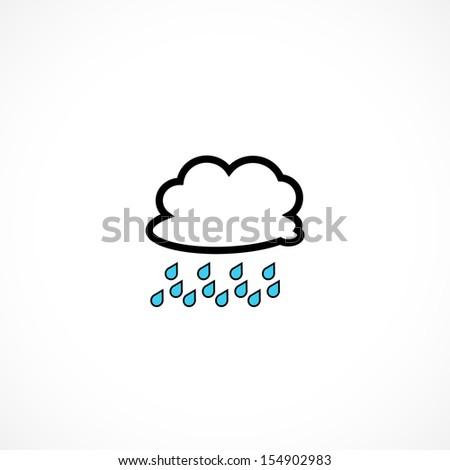 rain, icon - stock vector