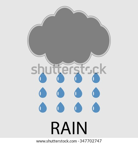 Rain icon weather. Cyclone and climatology, downpour and rainstorm, drizzle humidity, meteorology weather climate. Vector art design abstract unusual fashion illustration - stock vector