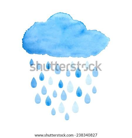 Rain (nimbus) cloud precipitation with rain drops. Watercolor illustration in vector. - stock vector