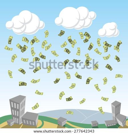 rain of dollars - stock vector