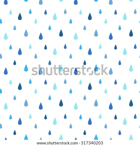 Rain seamless vector pattern. Falling water drops. Shades of blue. Rainy background. - stock vector