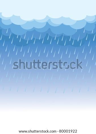 Rain.Vector image with dark clouds in wet day - stock vector