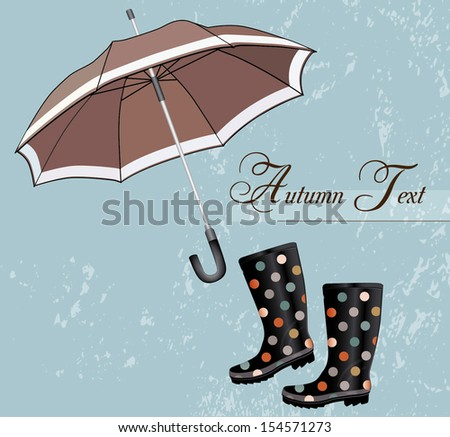 Rainboots with umbrella - Illustration - stock vector