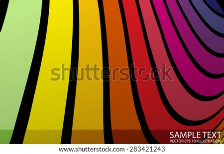 Rainbow abstract vector twisted background illustration - Twisted lined vector rainbow colored stripes template - stock vector