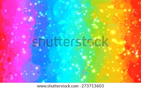 Rainbow and sparkles brush strokes background. Vector version - stock vector