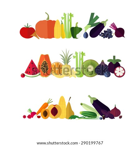 Rainbow banners from flat icons of fruits and vegetables. - stock vector