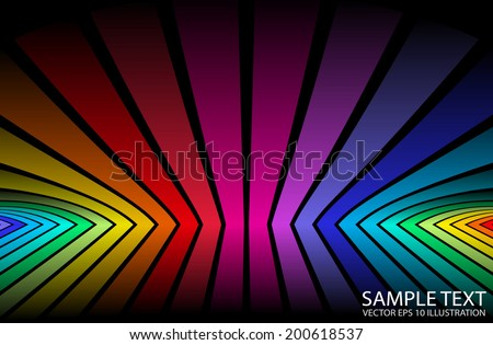 Rainbow color vector background reflected illustration - Vector colorful abstract reflected   design template - stock vector