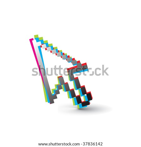 rainbow color vector mouse cursor symbol,vector illustration - stock vector