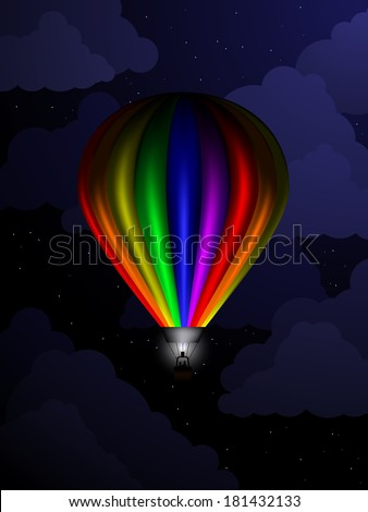 Rainbow colored balloon floating in the sky during nighttime - stock vector