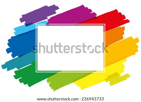 Rainbow colored brush strokes forming a colorful horizontal frame. Isolated vector illustration on white background. - stock vector