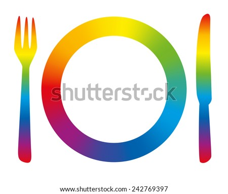 Rainbow colored place setting as a symbol for having fun at dinner. Isolated vector illustration on white background. - stock vector