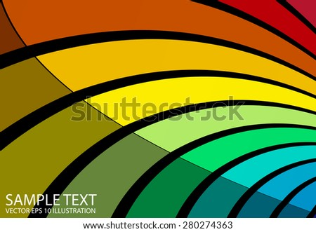 Rainbow colorful curved background illustration - Vector abstract colorful striped  background template - stock vector