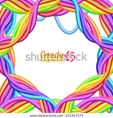 Rainbow colors candy ropes vector background - stock vector