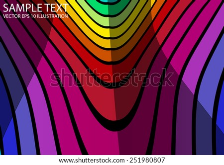 Rainbow curved vivid color background abstract illustration - Vector abstract colorful  striped background template - stock vector