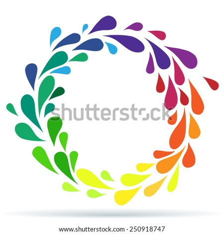 Rainbow drops in circle - stock vector