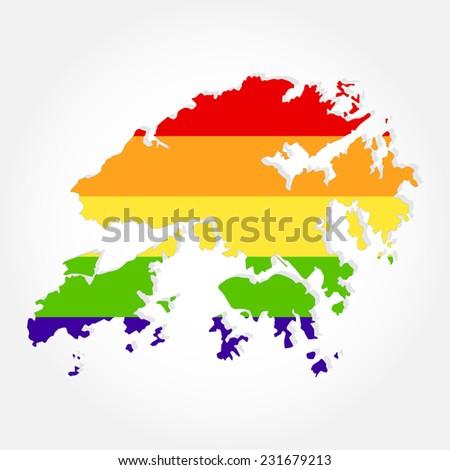 Rainbow flag in contour of Hong Kong. Lgbt flag  in contour of Hong Kong with light grey background - stock vector