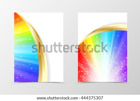 Rainbow flyer template design. Abstract flyer template in rainbow color with gold lines and white stars. Spectrum flyer design. Vector illustration - stock vector