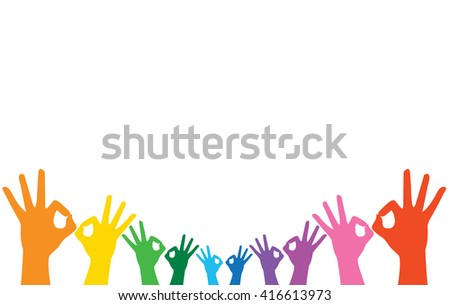 rainbow hands okay sign and background vector  - stock vector