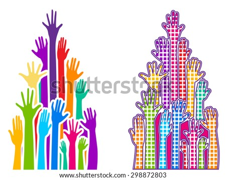 Rainbow hands two versions - plain and pattern squares layered  - stock vector