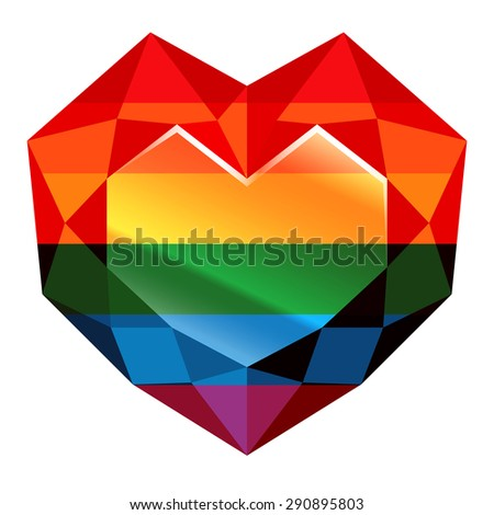 Rainbow. Heart. 10eps - This illustration contains a transparency and Blending mode  - stock vector