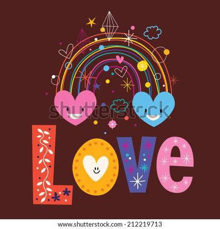 rainbow hearts word Love retro typography lettering text design - stock vector
