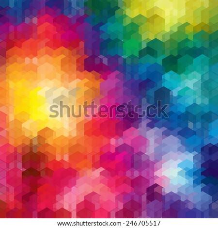Rainbow hexagon background . Vector illustration. - stock vector