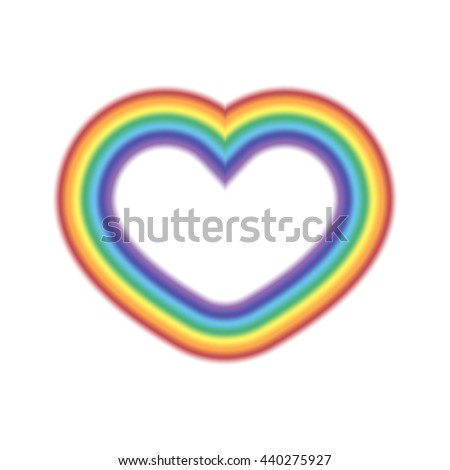 Rainbow icon heart. Shape object realistic sign, isolated on white background. Colorful light and bright design element for decorative concept. Symbol of rain, sky, clear and love. Vector illustration - stock vector