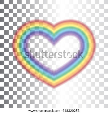 Rainbow icon heart. Shape realistic sign, isolated on transparent background. Colorful light and bright design element for decorative concept. Symbol of rain, sky, clear and love. Vector illustration. - stock vector