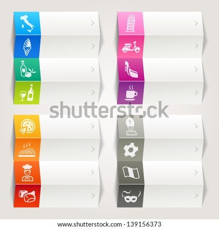 Rainbow - Italian culture icons / Navigation template - stock vector