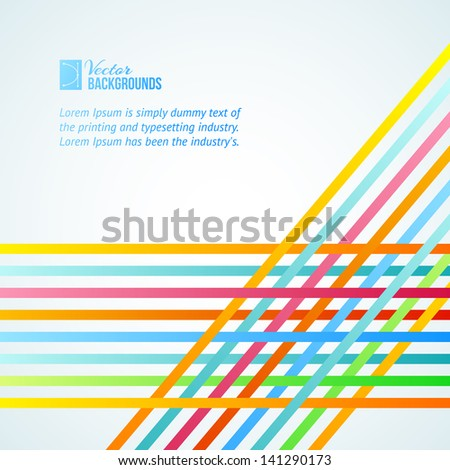 Rainbow Lines Background for presentations. Vector illustration. - stock vector