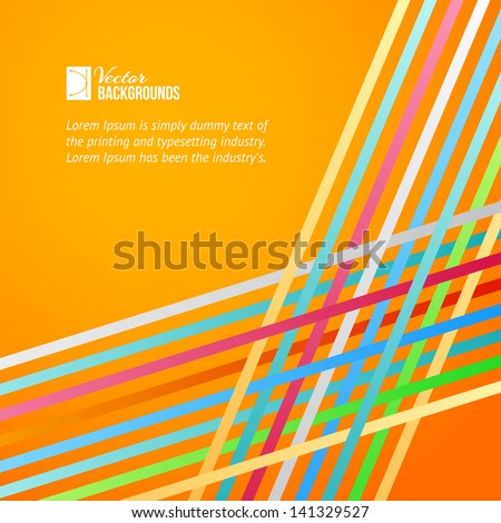 Rainbow lines over orange background. Vector illustration. - stock vector