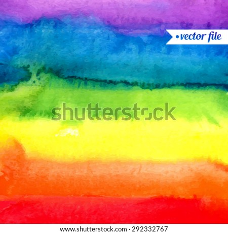 Rainbow, magic wonderful fabulous watercolor. Abstract background vector. Colorful, red, orange, yellow, green, blue, indigo, violet, purple colors. Web and mobile interface, website template - stock vector