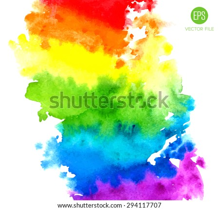 Rainbow, magic wonderful fabulous watercolor. Abstract background vector. Colorful, red, orange, yellow, green, blue, indigo, violet, purple, white colors. Web and mobile interface, website template - stock vector