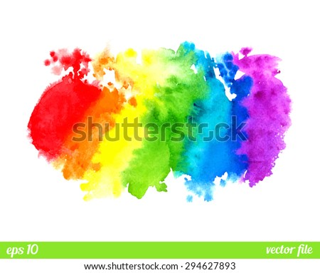 Rainbow, magic wonderful fabulous watercolor ink Abstract background vector. Colorful, red, orange, yellow, green, blue, indigo, violet, purple, white colors Web and mobile interface, website template - stock vector