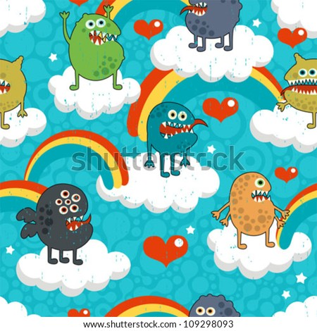 Rainbow Monster Party - stock vector