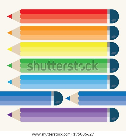 Rainbow multi colored pencils with copy space for your text - stock vector