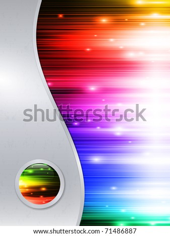Rainbow multicolored abstract bright background in metal frame with glossy button - stock vector