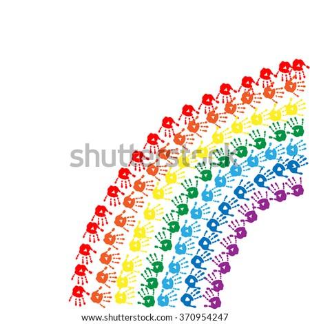 Rainbow of a children's hands prints - stock vector