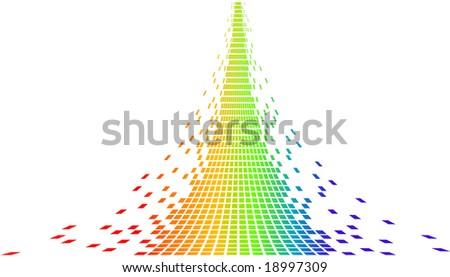 rainbow pixels - stock vector