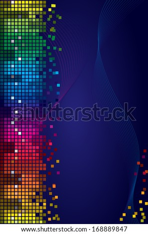 Rainbow shining digital equalizer vector background with flares, design layout template - stock vector