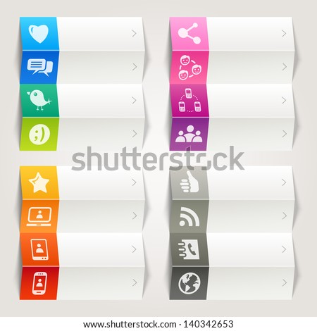 Rainbow - Social Media Icons / Navigation Template - stock vector