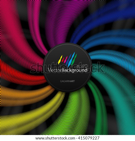 rainbow spiral stripes on a black background - stock vector
