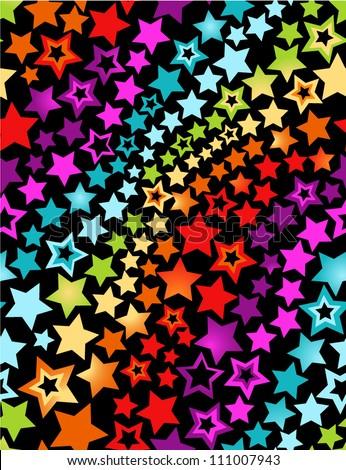 Rainbow stars seamless pattern - stock vector