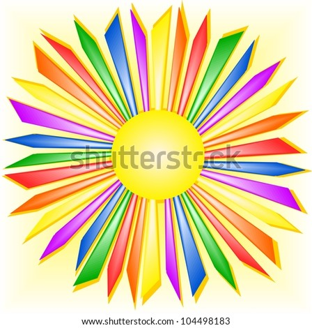 Rainbow sun - stock vector