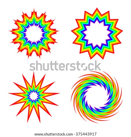 Rainbow Swirl and Star Frame. Hand Drawing Vector Design Element. - stock vector