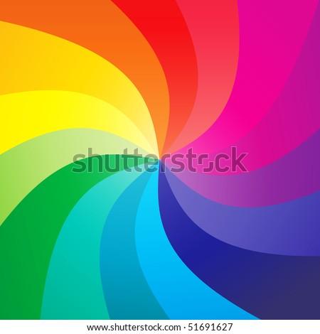 Rainbow swirly background - vector - stock vector